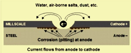 Mechanism of mill scale induced corrosion
